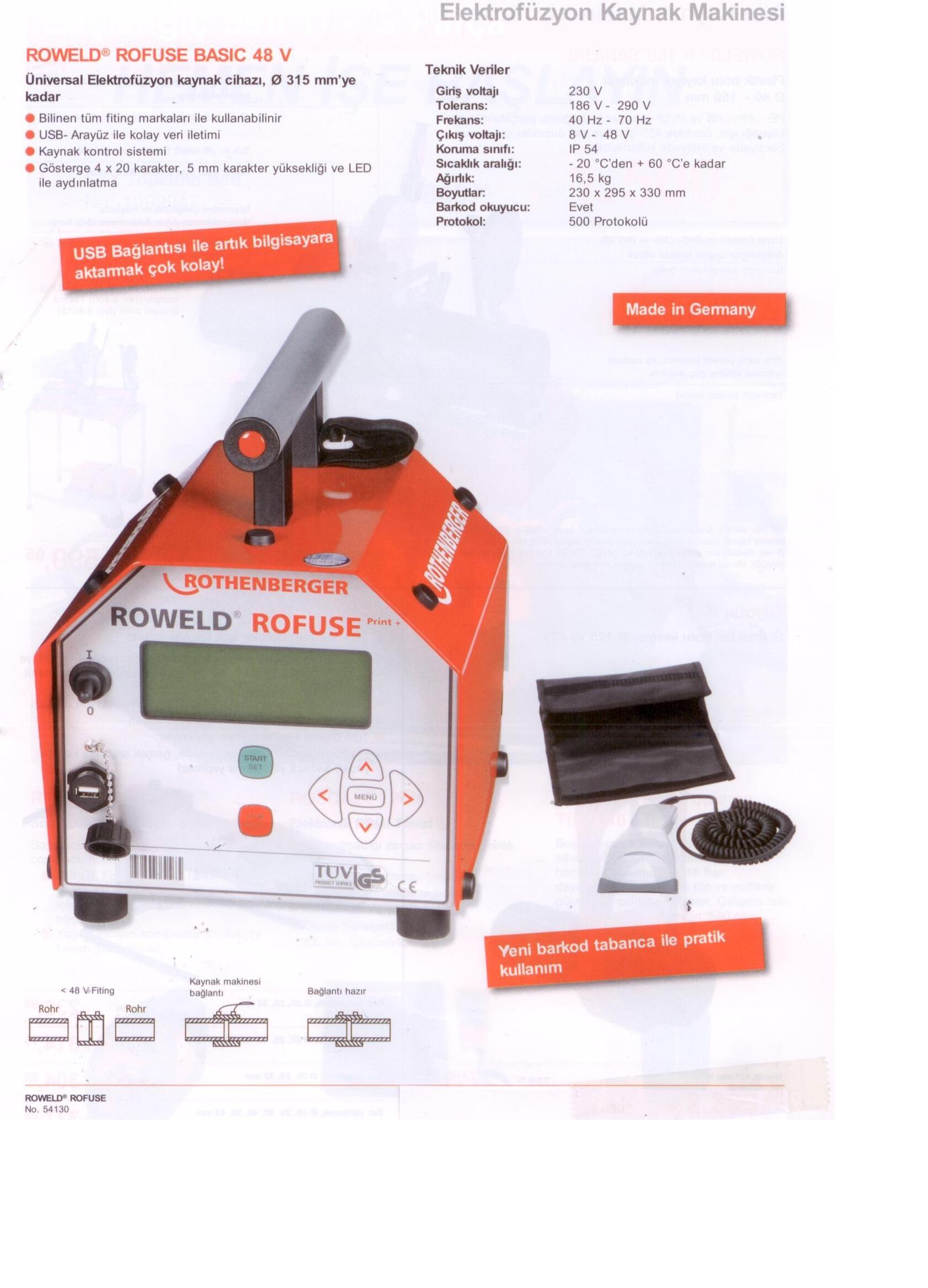 ROWELD ROFUSE BASIC 48V KAMPANYA ROTHENBERGER ELEKTROFÜZYON KAYNAK MAKİNASI